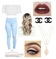 """""""Untitled #54"""" by leahfig1327 ❤ liked on Polyvore featuring Miguelina, Converse, Haze and Forever 21"""