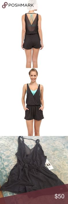Alo hatha romper onesie Grey XS romper. Sheer grey back detail. 95% rayon 5% spandex. 31 inches hem to shoulder ALO Yoga Other