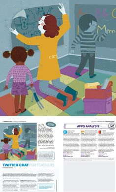 Marta Antelo creates this illustration for an article about how facilitate the equipment to small children in classrooms.
