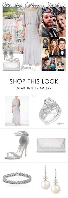 """""""170408 Attending Cathryn's Wedding with Sami and the Kids"""" by mxrlvne ❤ liked on Polyvore featuring J Kara, Manolo Blahnik, Dorothy Perkins, Apples & Figs, Belpearl and Saks Fifth Avenue"""