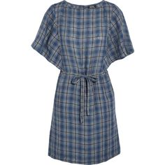A.P.C. Atelier de Production et de Création Kentucky plaid linen mini... (£135) ❤ liked on Polyvore featuring dresses, storm blue, petite dresses, plaid dress, blue linen dress, loose fitting dresses and plaid mini dress