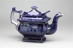 """Mt. Vernon, The Seat of the Late Gen'l Washington"" Teapot Anonymous, 1820-1840"
