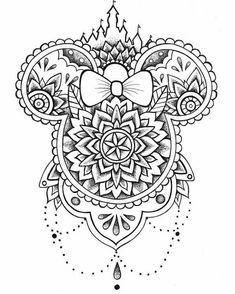 Disney Tattoos 94935 minnie mouse, black and white sketch, mandala back tattoo, white background Mandala Coloring, Colouring Pages, Adult Coloring Pages, Coloring Books, Disney Coloring Pages Printables, Coloring Bible, Mandalas Painting, Mandalas Drawing, Tattoo Drawings