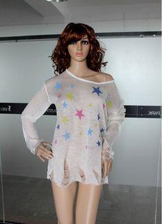 Aliexpress.com  Comprar 2015 mujeres del resorte Little Star patrón Mohair  de punto jerseys estilo de Rock flojo suéter manga larga mujeres delgadas  ... 83198225c6e9