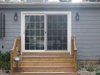Liking the wide step idea for back door leading to for Sliding glass doors onto deck