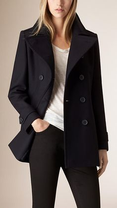 Navy Pleat Detail Wool Cashmere Peacoat - Image 1