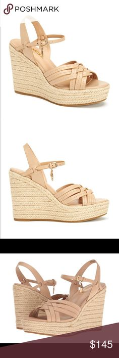 """COACH Dottie High Heel wedge espadrille Sandals new in box  COACH  Dottie High Heel wedge espadrille Sandals  $185  COLOR: Beechwood Beige  size: 7.5  Smooth leather straps paired with beachy braided jute soles make for a sandal ready for both the cabana and the city. The dramatic silhouette is finished with signature COACH hangtag and feather charms. •4.75"""" heel •Semi-matte calf leather upper, rubber sole •Imported Coach Shoes Wedges"""
