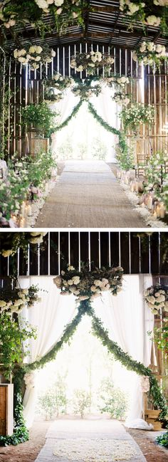 Beautiful draped fresh greenery garland! This could be made with a work garland form. Also love the floral parasols hanging from the roof!