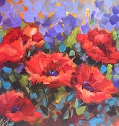 Artists Of Texas Contemporary Paintings and Art - Sweet Dreams Red Poppies by Texas Flower Artist Nancy Medina
