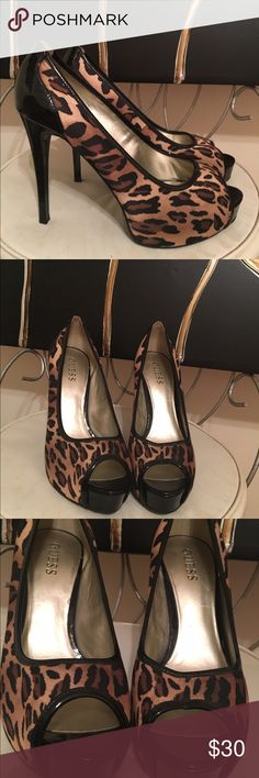 Guess cheetah heels👠 Guess like new 5 inch heels gorgeous 😄❤👠 Guess Shoes Heels