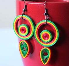 Gorgeous Quilling Earrings,Red,Green,Yellow,Handmade Jewelry,Unique Earrings