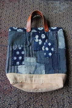 Boro tote bag , made of japanese indigodyed cotton,vintage japanese kasuri and japanese noragi textile with a lot of vintage japanese textiles.
