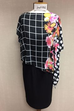 Black dress with floral A-symmetrical scarf. Dress With Scarf by Joseph Ribkoff. Clothing - Dresses - Floral Pittsburgh Pennsylvania
