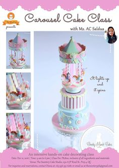 Spinning and lighting up carousel cake class in Manila, Philippines by London based cake artist, Cheeky Munch Cakes Carousel Cake, Cake Decorating Classes, Manila Philippines, Holidays 2017, Holiday Cakes, Spinning, Light Up, Unicorn, London