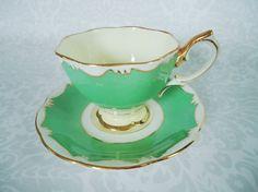 Royal Albert Teacup and Saucer Pastel Green  by SwirlingOrange11, $49.00