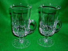 A SET OF 2 RETRO CRYSTAL IRISH COFFEE GLASSES MUGS NICE CUT | eBay