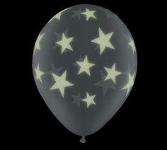 "#burtonandburton GloPrint Glow Stars latex on 11"" Diamond Clearpk/25Qualatex"