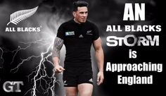 """All Blacks rugby - Rugby World Cup 2015 - Sonny Bill Williams - """"An All Blacks Storm is Approaching England"""" color poster series created by Gordon Tunstall using Adobe Photoshop, Adobe Illustrator, & Corel Paintshop Pro"""