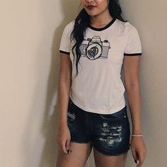 ✨ Camera Embroidered Ringer Tee ✨ Dark Denim Shorts ✨ Shopdevi.com • #shopdevi