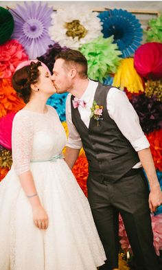Read more Stunning Vibrant Colourful wedding at Village hall http://www.itakeyou.co.uk/wedding/village-hall-wedding-photography/ Photo : mikiphotography.info  village hall wedding ceremony bride and groom
