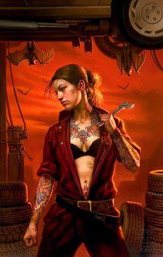 Mercy (Mercedes)Thompson, Mercy Thompson: Blood Bound by: Patricia Briggs. Art by: Dan dos Santos.