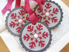 Items similar to Snowflake Tags . sophisticated chic on Etsy Christmas Paper Crafts, Diy Christmas Cards, Xmas Cards, Christmas Projects, All Things Christmas, Handmade Christmas, Christmas Ornaments, Gift Cards, Christmas Holiday