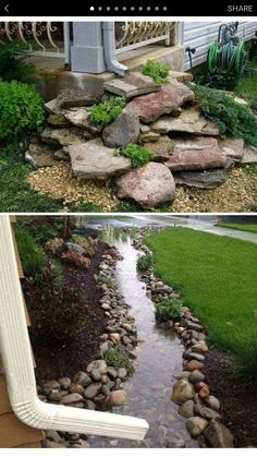 Outdoors Discover 50 Outstanding Landscape Drainage Design Ideas Some Things That Are Needed And Not For La. 50 Outstanding Landscape Drainage Design Ideas Some Things That Are Needed And Not For Landscape Drainage 14 Outdoor Landscaping, Front Yard Landscaping, Backyard Patio, Outdoor Gardens, Rocks In Landscaping, Backyard Drainage, Backyard Ideas, Inexpensive Landscaping, Backyard Privacy