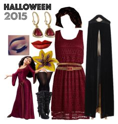 My Halloween Costume- Mother Gothel from Disney's Tangled by bijouxetsoirees on Polyvore featuring City Chic, Chanel and Jeffree Star