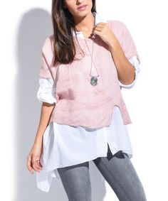 Light Pink Linen Layered Sidetail Tunic - Plus Too