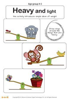 Heavy and Light - Math Worksheet for Kids. For more interesting maths worksheets… Measurement Kindergarten, 1st Grade Math Worksheets, Measurement Activities, Math Measurement, Kindergarten Lessons, Kindergarten Worksheets, Math Activities, Preschool Activities, Shapes Worksheets