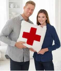 Create your own Red Heart cross knit pillow! | Free Knitting patterns | Knit patterns | DIY knitting | Knit pillows!