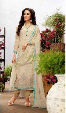 Georgette Fabric Evening Wear Straight Cut Dresses in Beige Color | FH523579307 #pakistani , #evening , #dress , #heenastyle , #party , #wear , #anarkali , #salwar , #kameez , #dupatta , #churidar , #suit , #fashion , #online , #shopping , #casual , #designer , @heenastyle , #store, #shop , #boutique