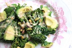 Broccoli & Avocado Salad with an Almond Butter-Lime Dressing – Naturally Sassy New Recipes, Whole Food Recipes, Vegan Recipes, Cooking Recipes, Sweet Potato Wedges, Lime Dressing, Raw Vegan, Vegan Food, Avocado Salad