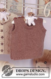 Colete em Karisma Free instructions from DROPS Design.Baby Knitting Patterns For Kids Vest in Karisma Free instructions from DROPS Design.An easy, cozy vest knit in theHere you'll find more than free knitting patterns and crochet patterns with tutori Baby Knitting Patterns, Knitting For Kids, Baby Patterns, Free Knitting, Knitting Projects, Drops Design, Crochet Baby, Knit Crochet, Drops Baby