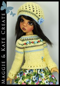"OOAK Spring Yellow Outfit for Kaye Wiggs 18"" MSD BJD by Maggie & Kate Create"