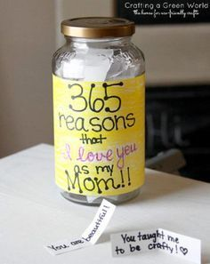 "Jar of Love: Mom goes above and beyond for the kids all year. Now it's time to tell her how much she is loved. Crafting a Green World's ""Jar of Love"" is a perfect gift from older kids because it involves writing reasons why mom is special on scraps of paper. The instructions call for 365 reasons, but any amount is sure to make mom smile (and tear up) on Mother's Day."