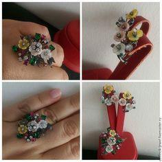 Купить Комплект из серебра и перламутра Цветы - комбинированный, перламутр, кольцо цветок, цветы в украшении