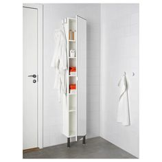 LILLÅNGEN High cabinet with mirror door, white, 11 The mirror comes with safety film on the back, which reduces the risk of injury if the glass is broken. Adjustable feet make it possible to compensate for any irregularities in the floor. Bathroom Cabinets Ikea, Bathroom Mirror Cabinet, Mirror Cabinets, Mirror Door, Tall Cabinets, Tall White Bathroom Cabinet, Bathroom Colors, Bathroom Sets, Rental Bathroom