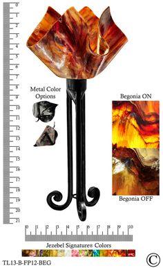Jezebel Signature® Torch Light. Hardware: Black. Glass: Begonia, Flame Style