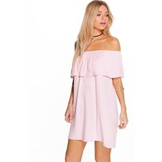 Boohoo Pixie Off The Shoulder Swing Dress ($20) ❤ liked on Polyvore featuring dresses, taupe and boohoo dresses
