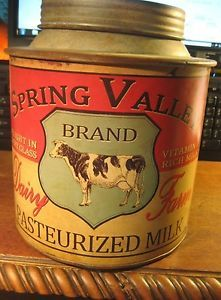 VINTAGE STYLE SPRING VALLEY BRAND PASTEURIZED DAIRY MILK METAL CAN FARM COWS OLD