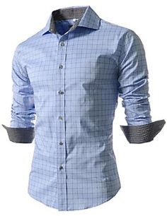 Yayu Mens Slim Button Down Shirt Long Sleeve Vertical Striped Shirt