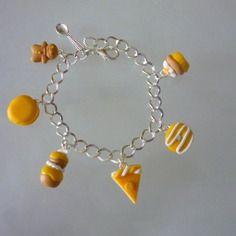 Bracelet chaine plaquée argent, gourmandises jaunes