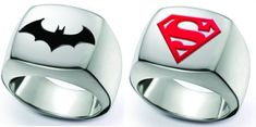 Minimalist Batman and Superman Signet Rings