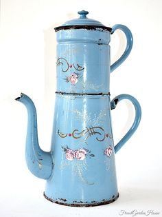 Antique French Enamelware Light Blue Pink Roses Gilt Biggin Cafetiere. #LaBoutiqueVintage