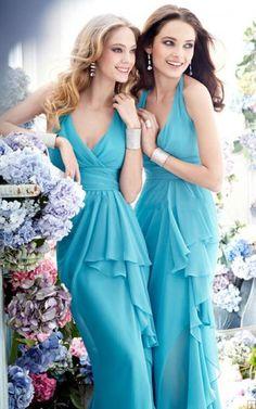Zipper Chiffon Empire Floor-length Halter Bridesmaid Dresses