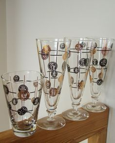 Four Pieces Vintage Coin Motif Beer Glasses by lookonmytreasures on Etsy