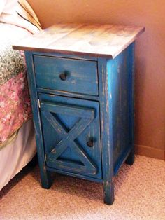 Farmhouse Nightstand or End Table by WWRusticDesign on Etsy. , via Etsy. 14x14 (top 16x16) x27h $225 + 35