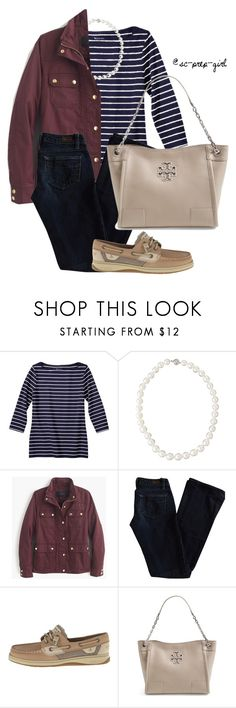 """""""Currently Loving Field Jackets!"""" by sc-prep-girl ❤ liked on Polyvore featuring Belpearl, J.Crew, Paige Denim, Sperry Top-Sider and Tory Burch"""