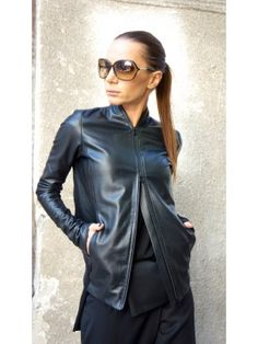 Extravagant Black Genuine Leather Coat A20361 #Aakasha #genuineleather #short #shiny #sexy #extravagant